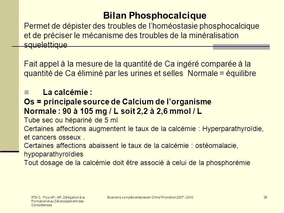 Bilan Phosphocalcique