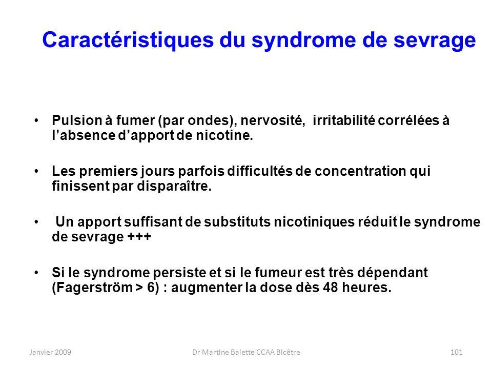 Caractéristiques du syndrome de sevrage