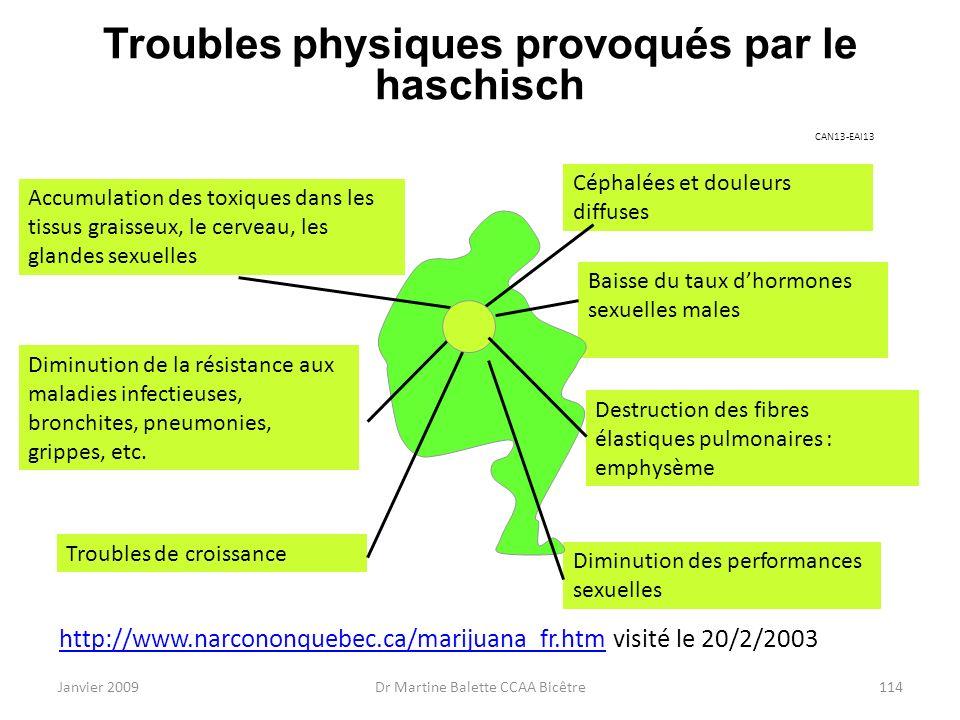 Troubles physiques provoqués par le haschisch