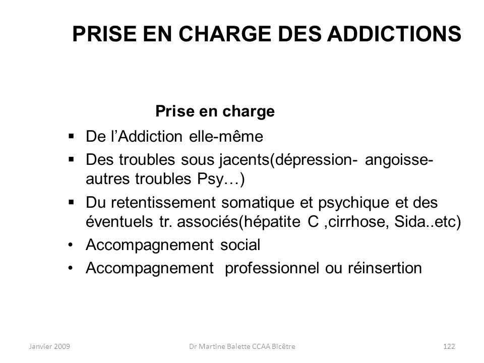 PRISE EN CHARGE DES ADDICTIONS