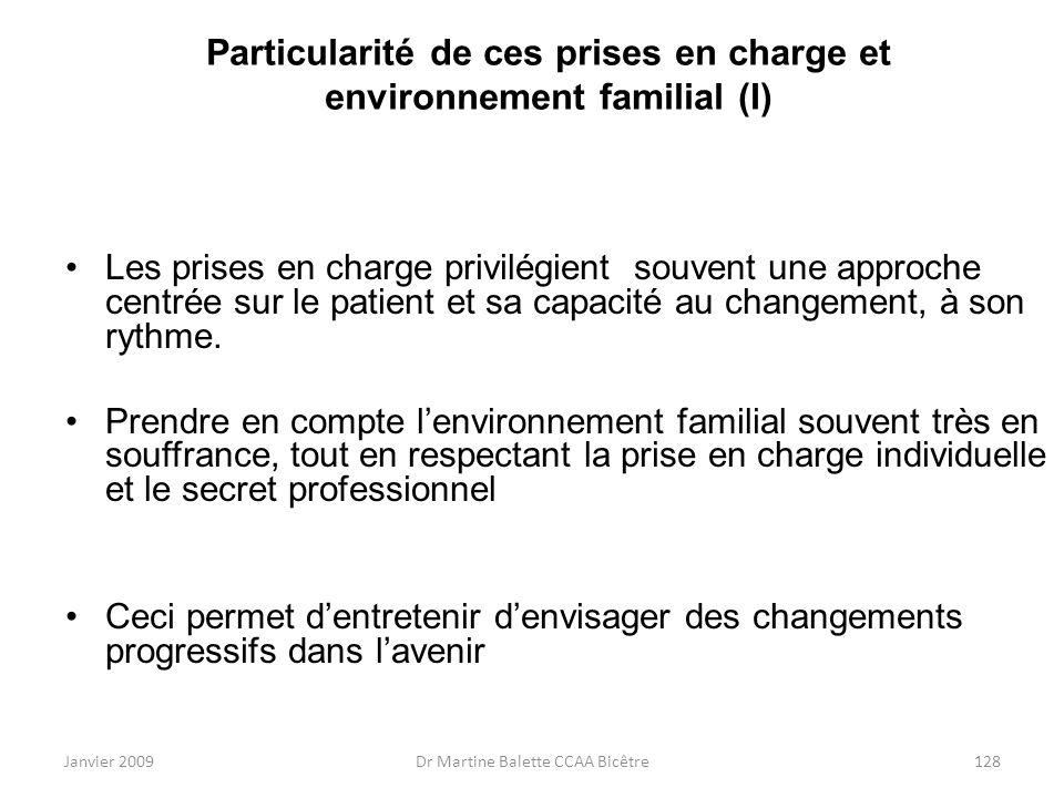 Particularité de ces prises en charge et environnement familial (I)