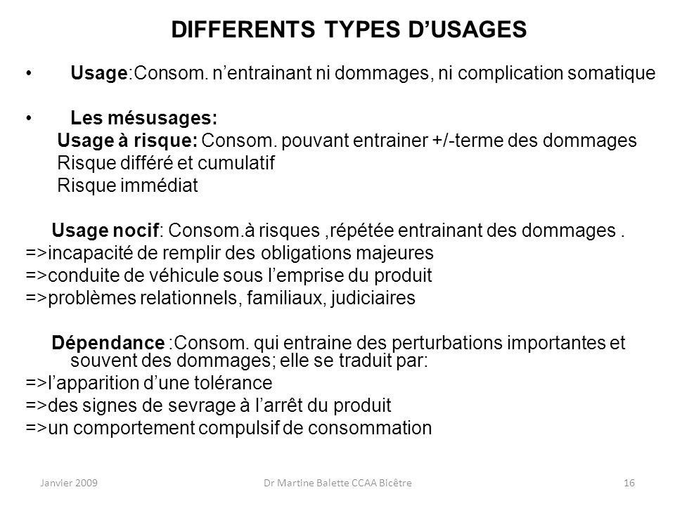 DIFFERENTS TYPES D'USAGES