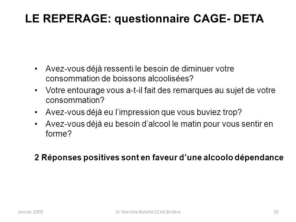 LE REPERAGE: questionnaire CAGE- DETA