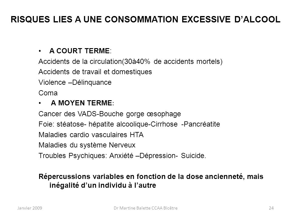 RISQUES LIES A UNE CONSOMMATION EXCESSIVE D'ALCOOL