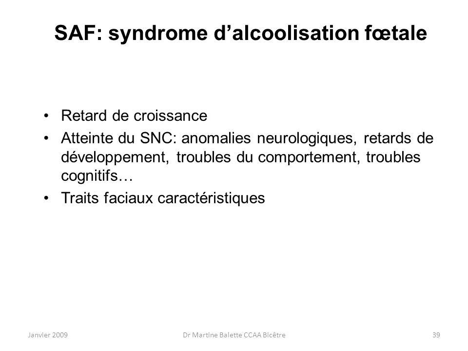 SAF: syndrome d'alcoolisation fœtale