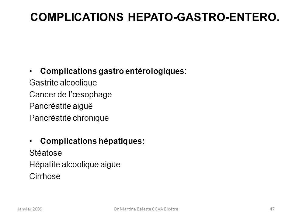 COMPLICATIONS HEPATO-GASTRO-ENTERO.