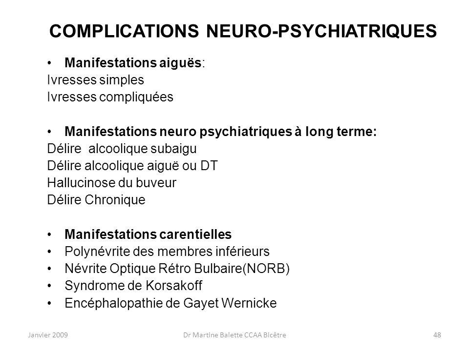 COMPLICATIONS NEURO-PSYCHIATRIQUES