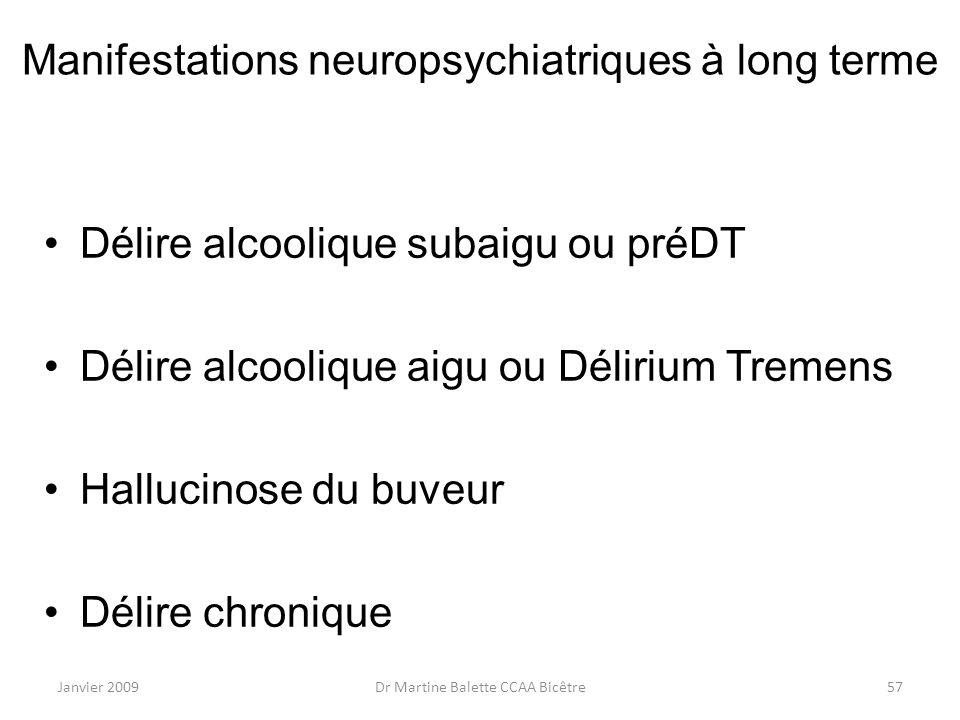 Manifestations neuropsychiatriques à long terme