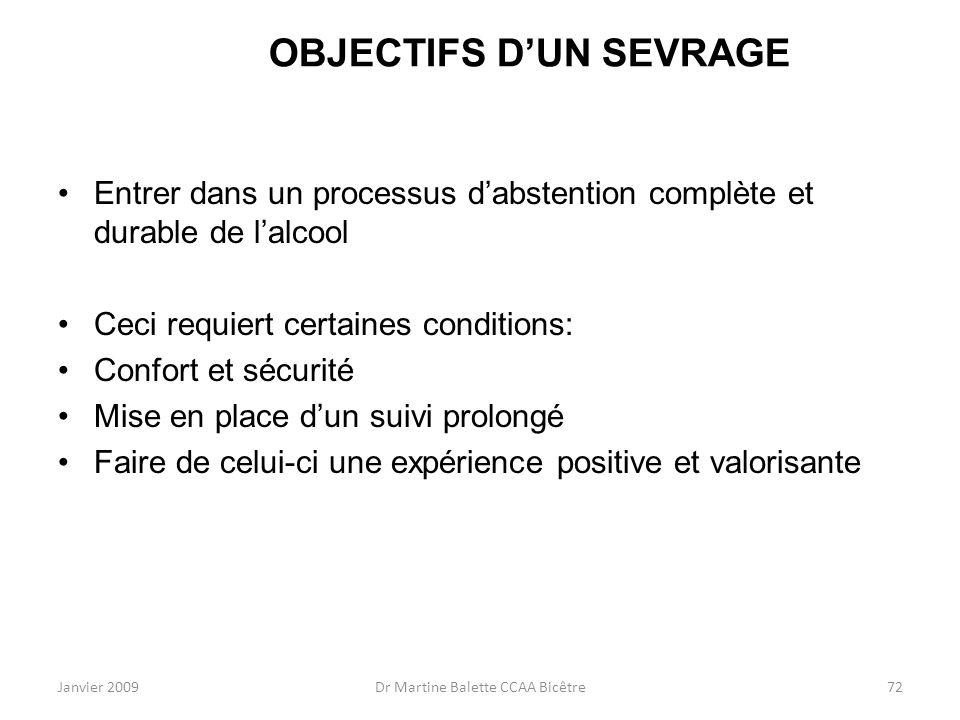 OBJECTIFS D'UN SEVRAGE