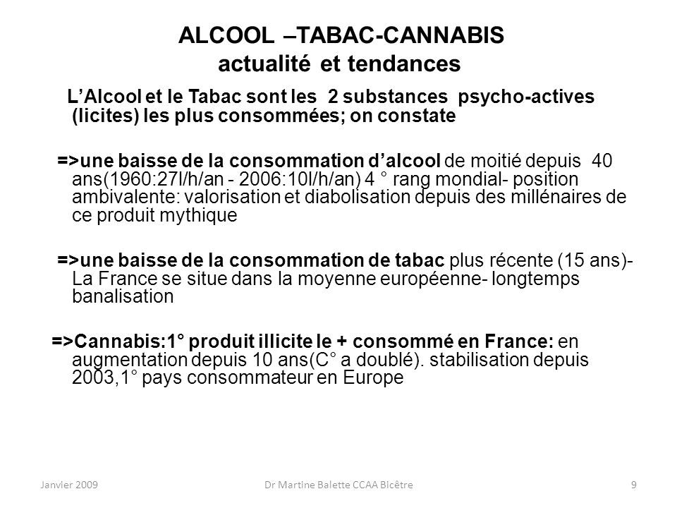 ALCOOL –TABAC-CANNABIS actualité et tendances