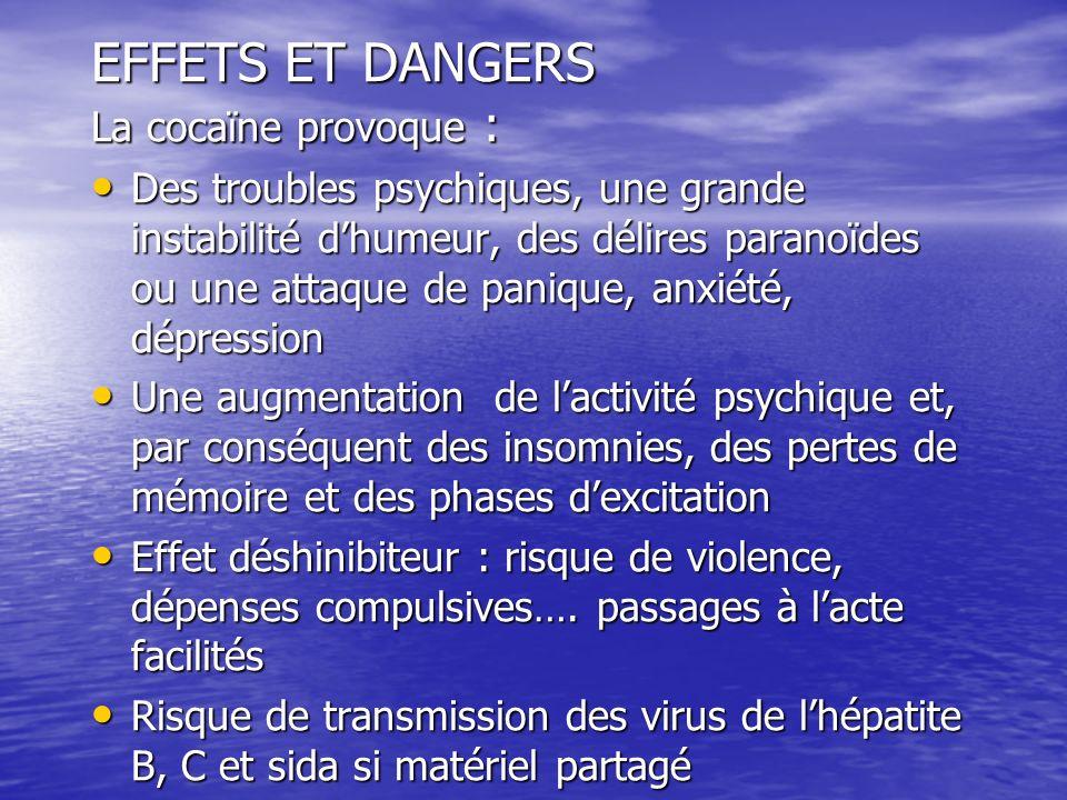 EFFETS ET DANGERS La cocaïne provoque :