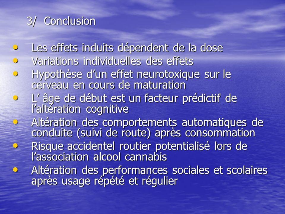 3/ Conclusion Les effets induits dépendent de la dose. Variations individuelles des effets.