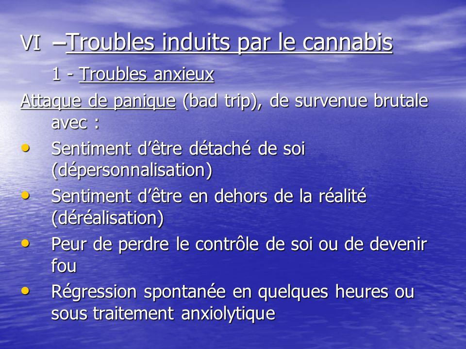 VI –Troubles induits par le cannabis 1 - Troubles anxieux