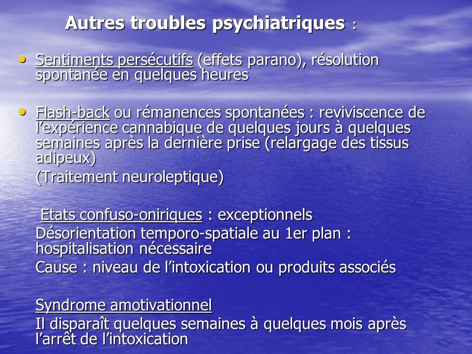 Autres troubles psychiatriques :