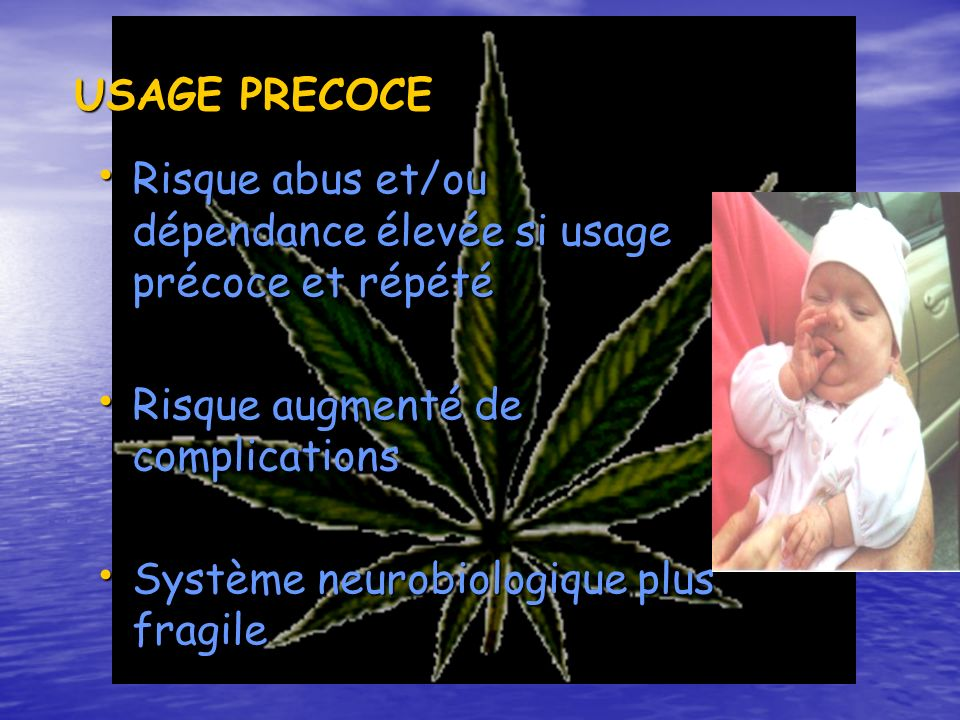 USAGE PRECOCE Risque abus et/ou dépendance élevée si usage précoce et répété. Risque augmenté de complications.