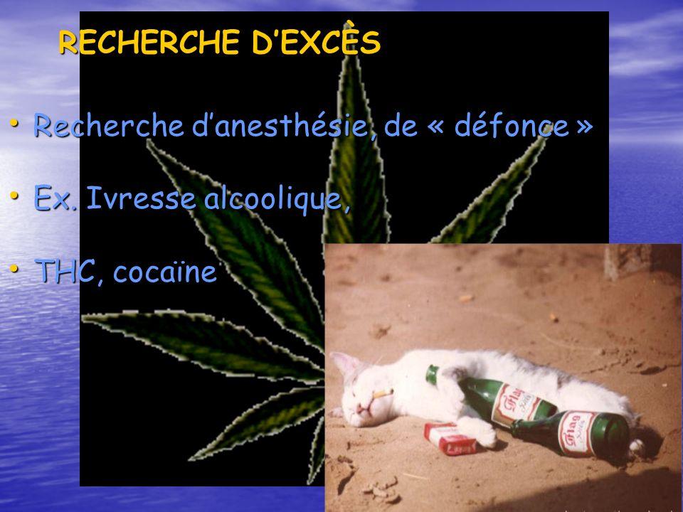 RECHERCHE D'EXCÈS Recherche d'anesthésie, de « défonce » Ex. Ivresse alcoolique, THC, cocaïne