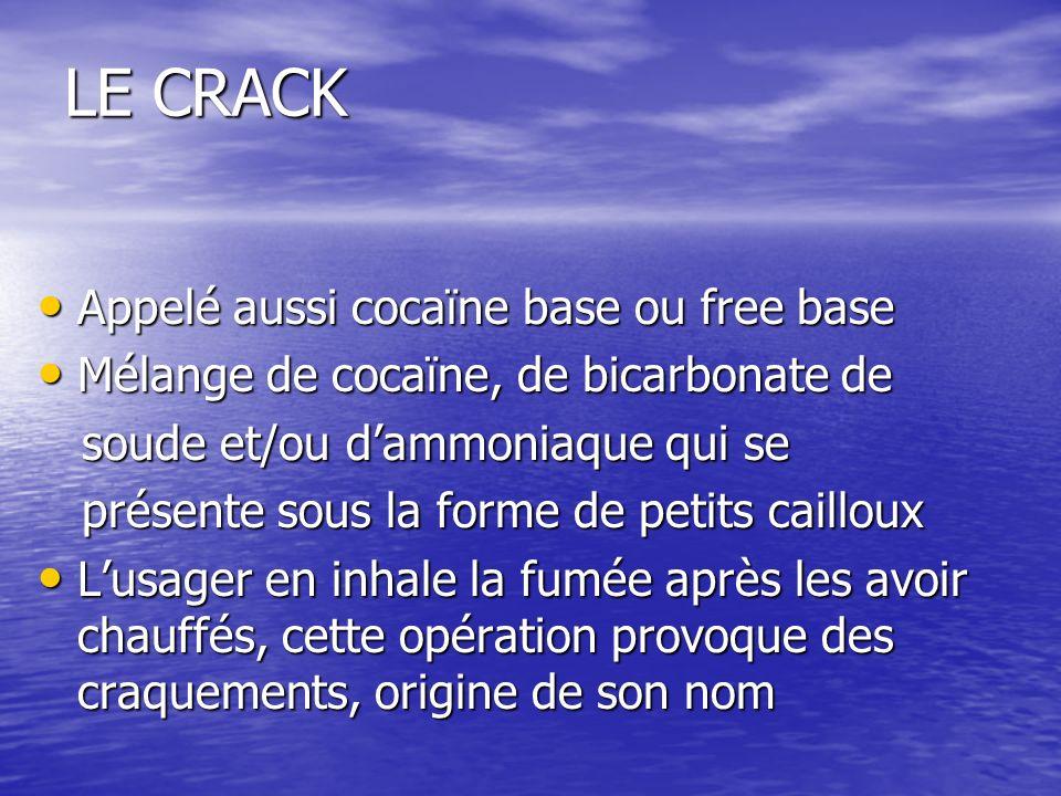 LE CRACK Appelé aussi cocaïne base ou free base