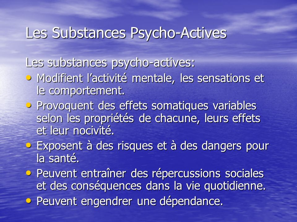Les Substances Psycho-Actives