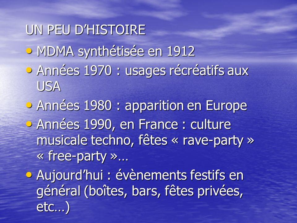 UN PEU D'HISTOIRE MDMA synthétisée en 1912. Années 1970 : usages récréatifs aux USA. Années 1980 : apparition en Europe.