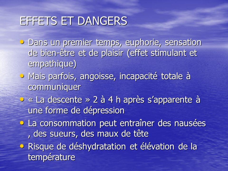EFFETS ET DANGERS Dans un premier temps, euphorie, sensation de bien-être et de plaisir (effet stimulant et empathique)