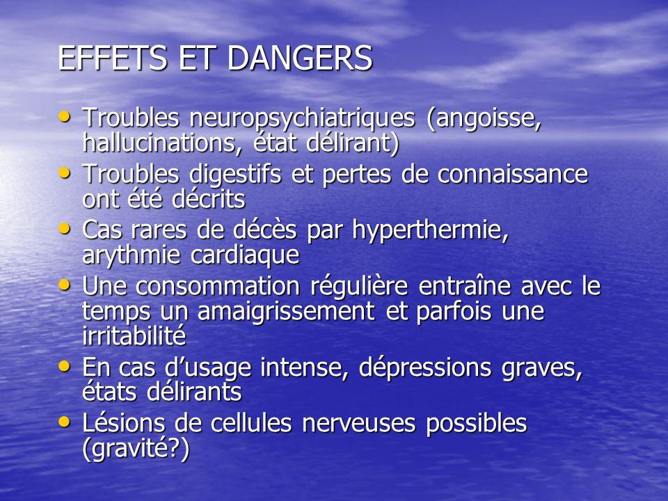EFFETS ET DANGERS Troubles neuropsychiatriques (angoisse, hallucinations, état délirant)