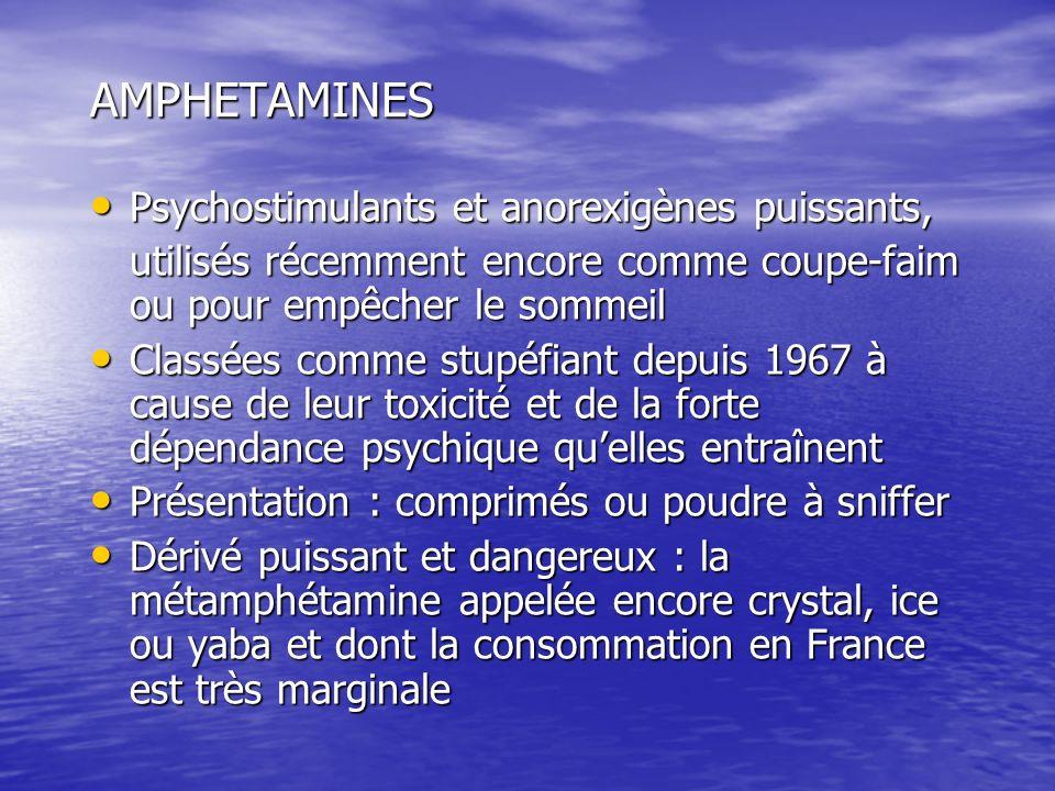 AMPHETAMINES Psychostimulants et anorexigènes puissants,