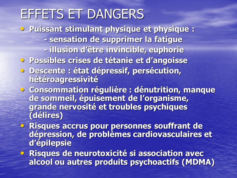 EFFETS ET DANGERS Puissant stimulant physique et physique :
