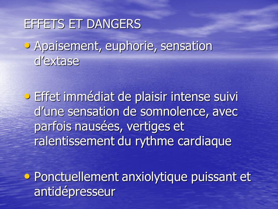 EFFETS ET DANGERS Apaisement, euphorie, sensation d'extase.