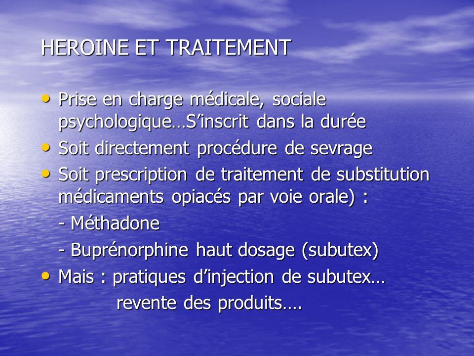 HEROINE ET TRAITEMENT Prise en charge médicale, sociale psychologique…S'inscrit dans la durée. Soit directement procédure de sevrage.
