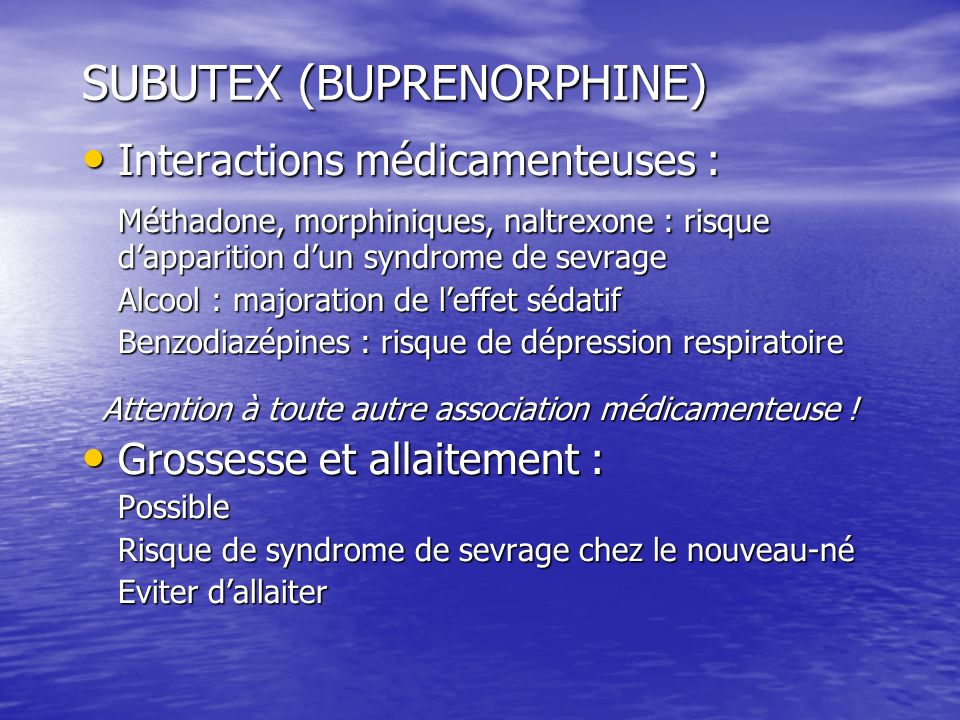 SUBUTEX (BUPRENORPHINE)