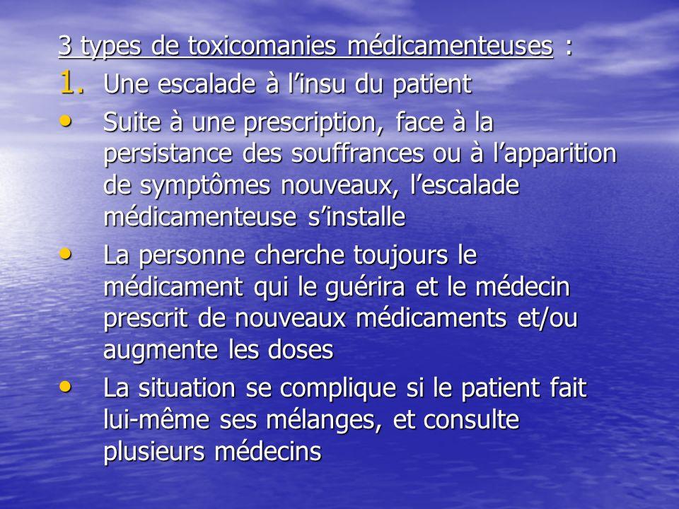 3 types de toxicomanies médicamenteuses :