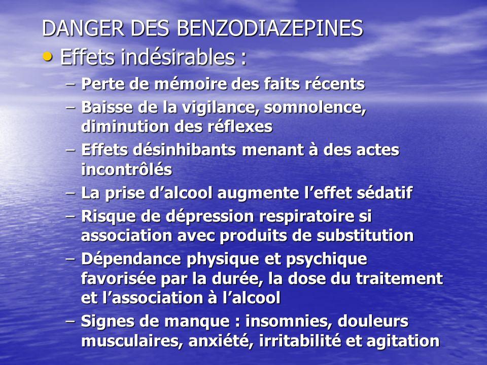 DANGER DES BENZODIAZEPINES