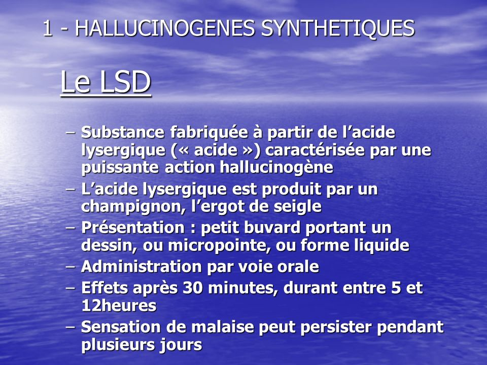 1 - HALLUCINOGENES SYNTHETIQUES