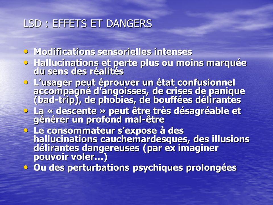 LSD : EFFETS ET DANGERS Modifications sensorielles intenses