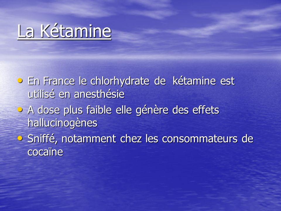 La Kétamine En France le chlorhydrate de kétamine est utilisé en anesthésie. A dose plus faible elle génère des effets hallucinogènes.