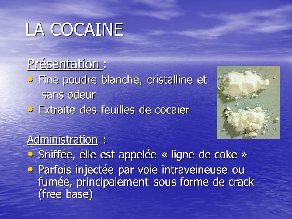LA COCAINE Présentation : Fine poudre blanche, cristalline et