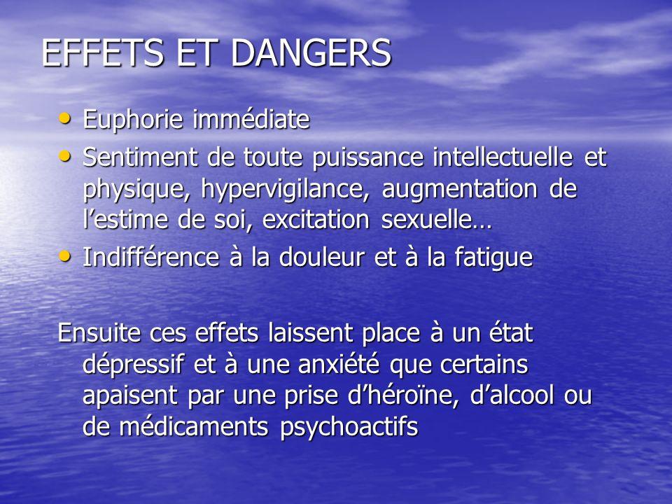 EFFETS ET DANGERS Euphorie immédiate