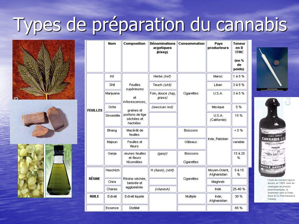 Types de préparation du cannabis