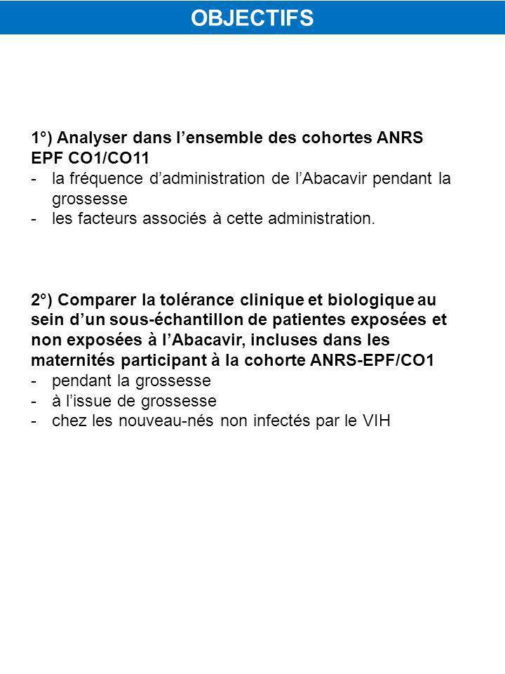 OBJECTIFS 1°) Analyser dans l'ensemble des cohortes ANRS EPF CO1/CO11