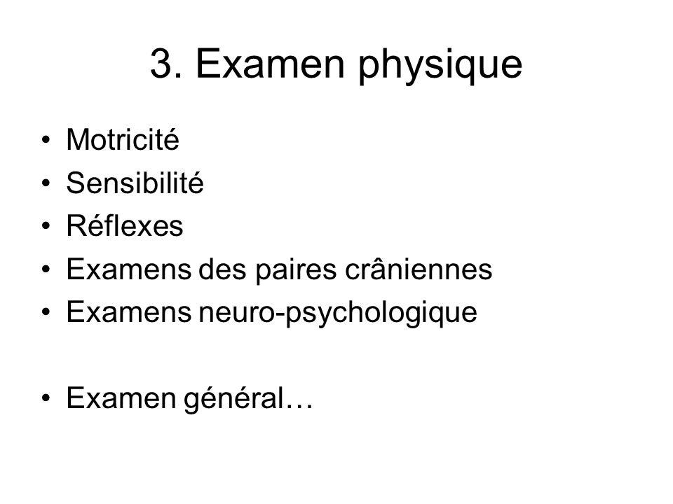 3. Examen physique Motricité Sensibilité Réflexes