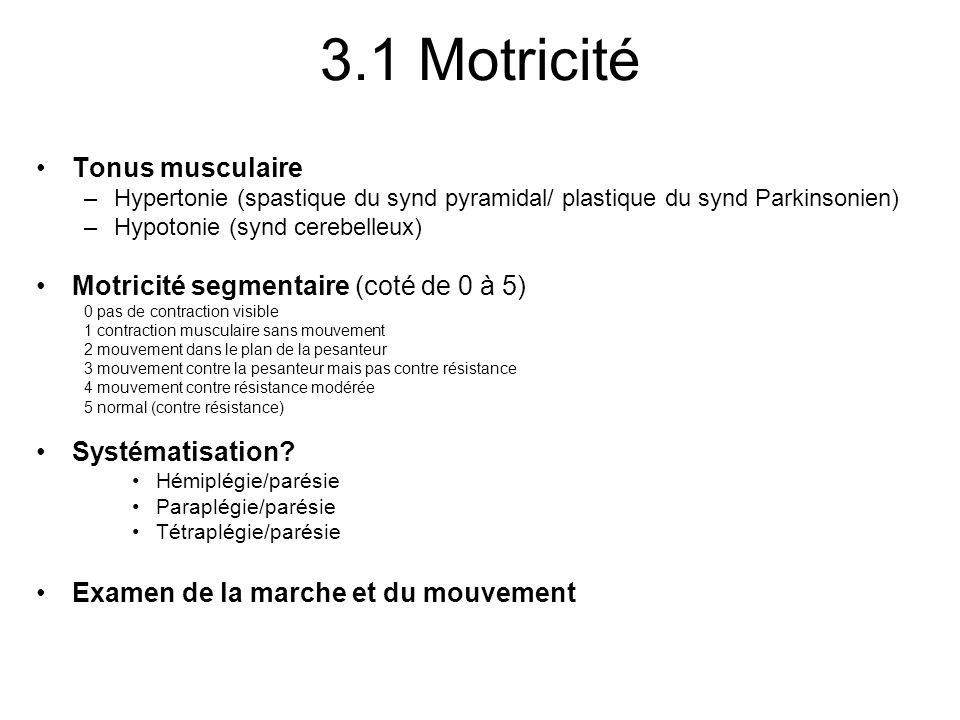 3.1 Motricité Tonus musculaire Motricité segmentaire (coté de 0 à 5)