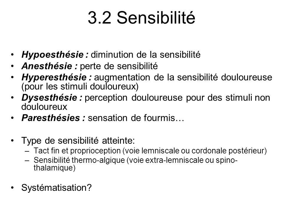 3.2 Sensibilité Hypoesthésie : diminution de la sensibilité