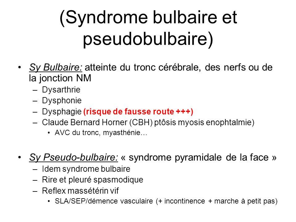 (Syndrome bulbaire et pseudobulbaire)