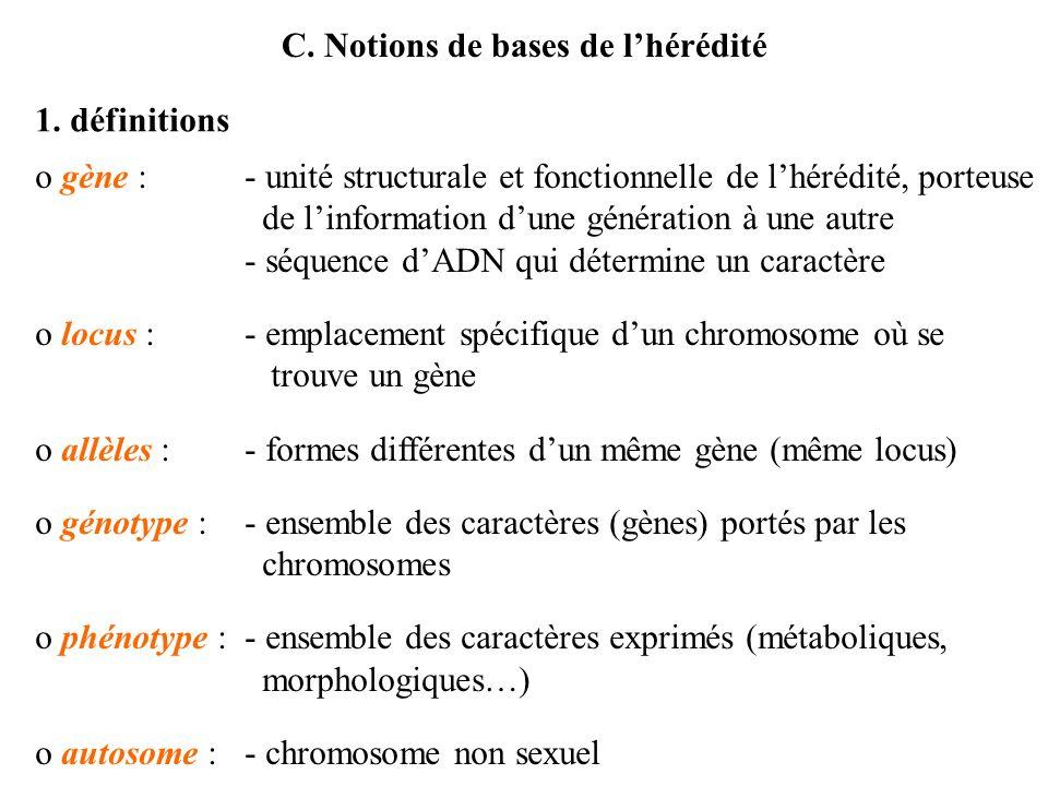 C. Notions de bases de l'hérédité