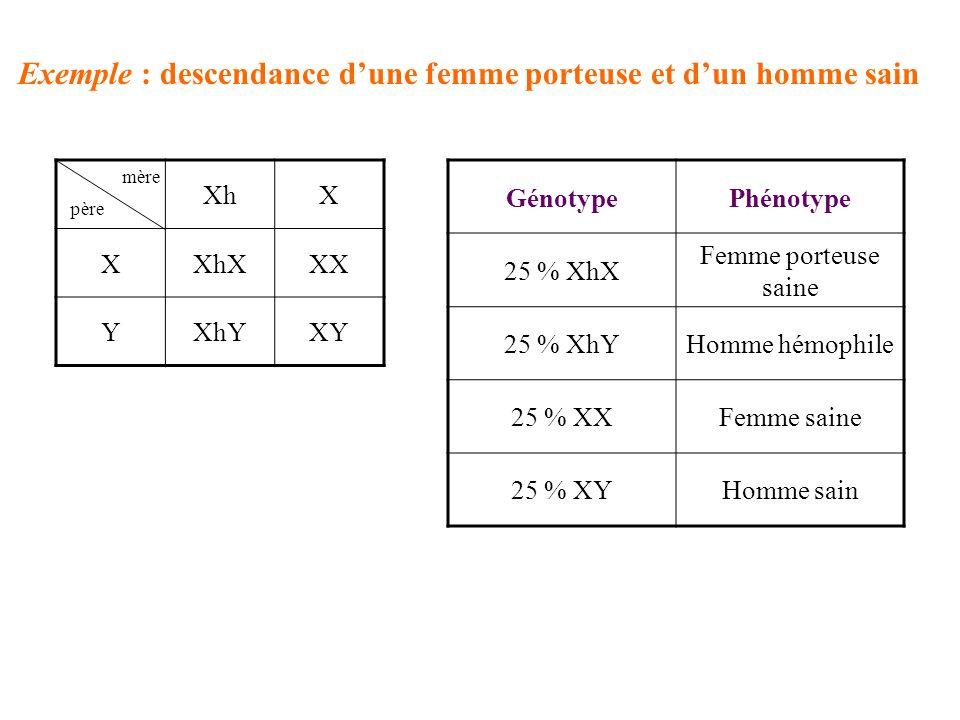 Exemple : descendance d'une femme porteuse et d'un homme sain