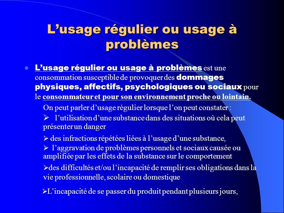 L'usage régulier ou usage à problèmes
