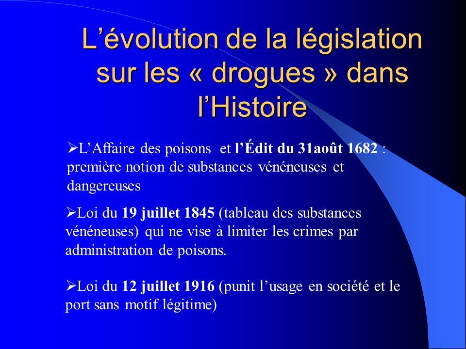 L'évolution de la législation sur les « drogues » dans l'Histoire