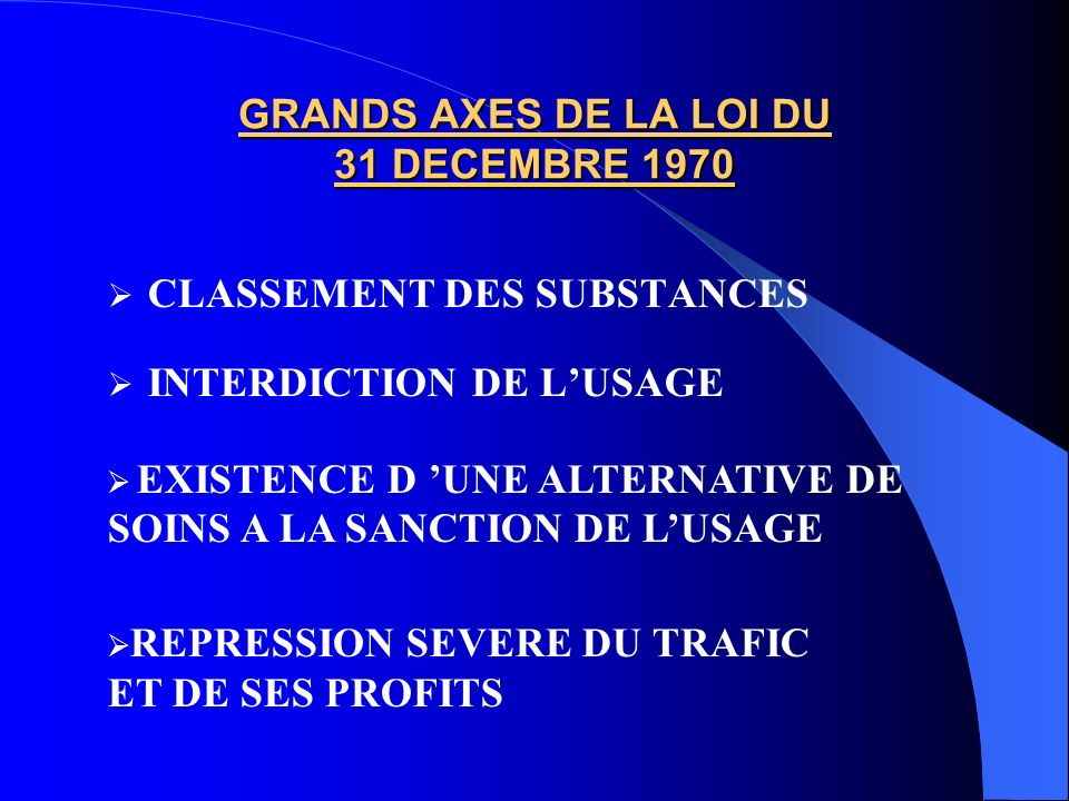 GRANDS AXES DE LA LOI DU 31 DECEMBRE 1970
