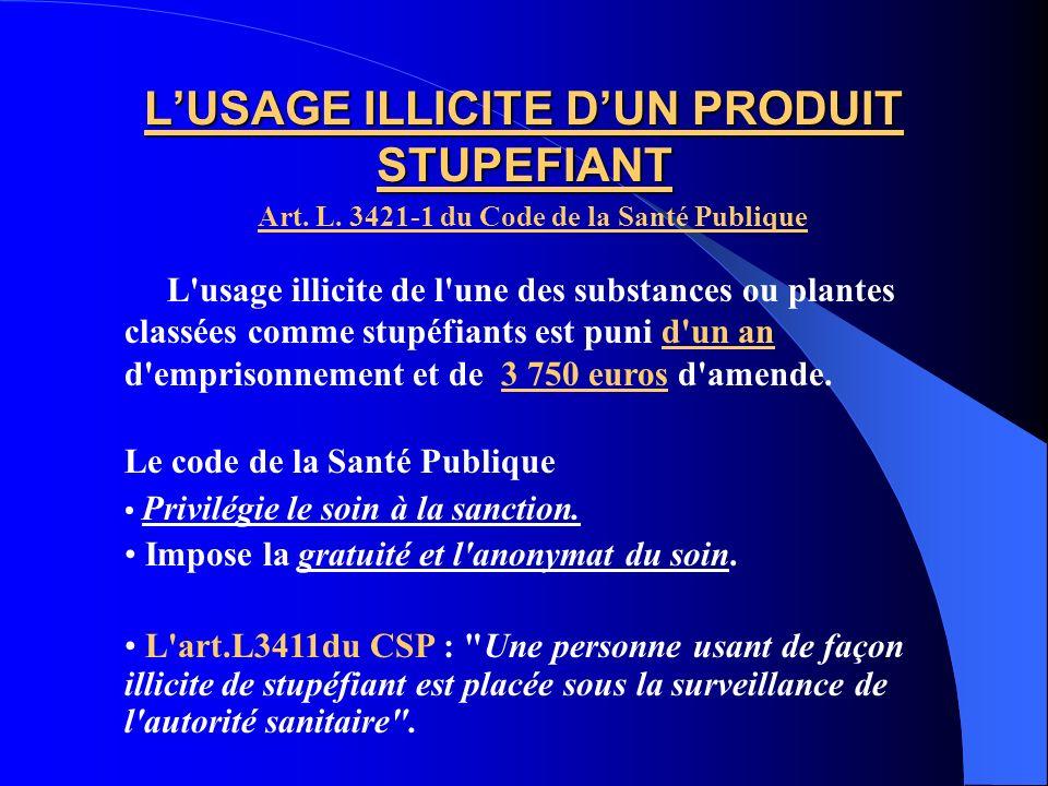 L'USAGE ILLICITE D'UN PRODUIT STUPEFIANT