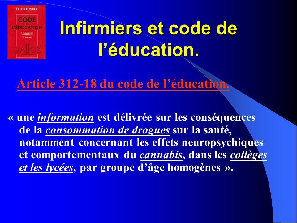 Infirmiers et code de l'éducation.